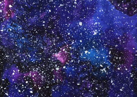 Hand painted watercolor cosmic texture with stars. Space, starry night sky, galaxy vector illustration.