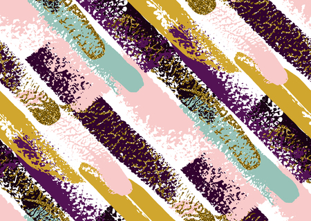 Vector seamless pattern with hand drawn gold glitter textured diagonal brush strokes and stripes hand painted. Black, gold, pink, blue, violet colors.