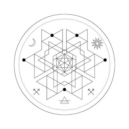 Mystical geometry symbol. Linear alchemy, occult, philosophical sign. For music album cover, poster, flyer, sacramental logo design. Astrology, imagination creativity superstition religion concept