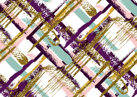 Vector seamless pattern with hand drawn gold glitter textured brush strokes and stripes hand painted. Black, gold, pink, green, violet colors.