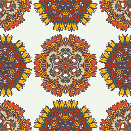 Geometric ethnic ornament seamless pattern. Endless background for card template, greetings, invitations or posters with fiesta mandalas. pattern in the swatches panel.