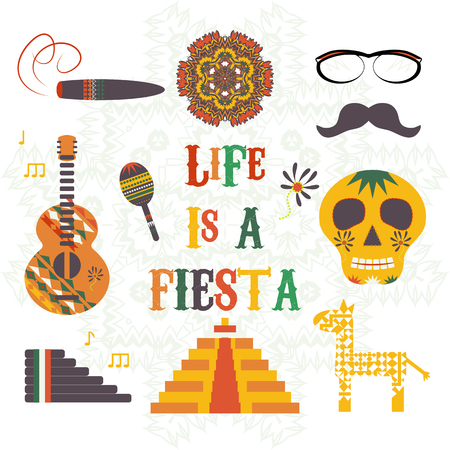 Life is a fiesta. Vector illustration with traditional Mexican symbols, national elements - guitar, pyramid, pinata, skull, music instruments. Travel to Mexico icons.  Isolated.
