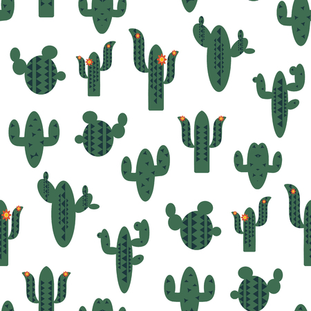 Seamless vector pattern with green cactuses on white background. Travel to Mexico texture. Pattern in swatches panel 向量圖像