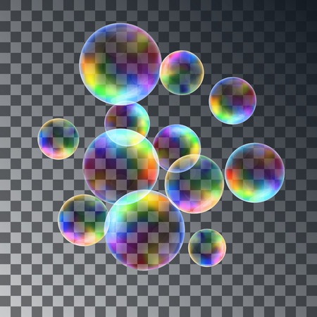 bubble water: Abstract background with the colorful realistic soap bubbles set. Vector illustration isolated on transparent background.