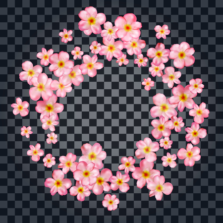 Abstract background with beautiful pink cherry blossom. Vector illustration isolated on a transparent background.