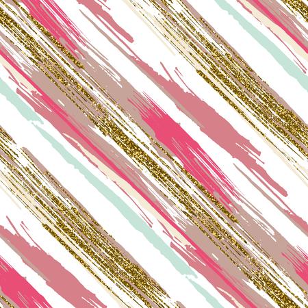 Vector nahtlose Muster mit Hand gezeichneten gold glitter texturierte Pinselstriche und Streifen handbemalt. Schwarz, gold, rosa, grün, beigefarben.