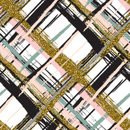 Vector seamless pattern with gold glitter textured brush strokes and stripes hand painted. Black, gold, pink, green, beige colors.