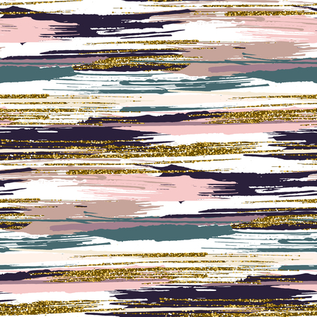 Vector seamless pattern with hand drawn gold glitter textured brush strokes and stripes hand painted. Black, gold, pink, green, beige colors.