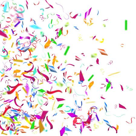 Abstracte kleurrijke confetti achtergrond. Geïsoleerd op het wit. Vector vakantie illustratie.