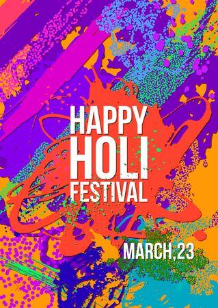 Holi festival poster template. Vector illustration