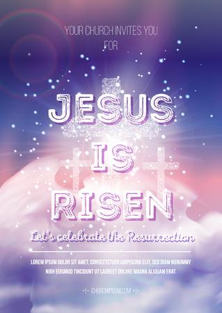 Gesù è risorto, vettore modello di manifesto religioso di Pasqua con trasparenza e maglia gradiente.