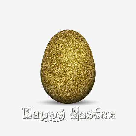 Gold glitter easter holiday egg. Vector illustration isolated on a white background. Vettoriali