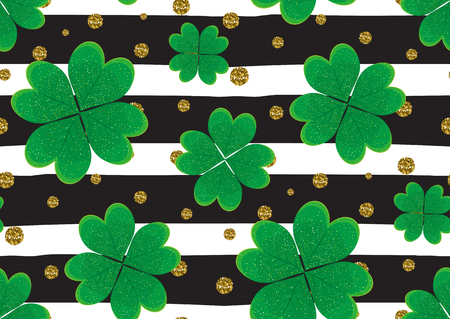lucky clover: Seamless pattern with the green clover leaves, gold gitter textured polka dots, stripes. Illustration