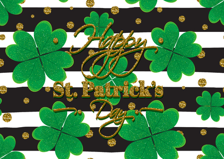 patrick's: Typographic Saint Patricks Day background with clover leaves. Vector design for greeting card, poster, flyer. Illustration