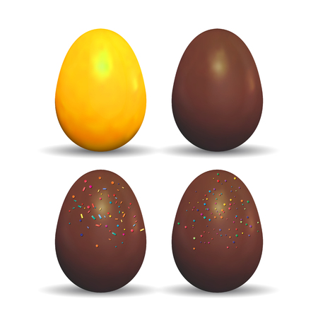 Easter holiday decorated golden and chocolate eggs. Vector illustration isolated on a white background. Illustration
