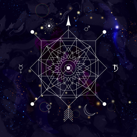 freemasonry: Mystical geometry symbol on space background. Linear alchemy, occult, philosophical sign. For music album cover, poster, flyer, logo design. Astrology, imagination, creativity, religion concept.