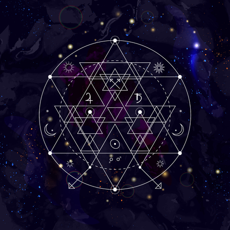 Mystical geometry symbol on space background. Linear alchemy, occult, philosophical sign. For music album cover, poster, flyer, logo design. Astrology, imagination, creativity, religion concept.