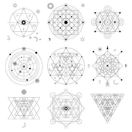 Mystical geometry symbols set. Linear alchemy, occult, philosophical sign. For music album cover, poster, flyer. Astrology, imagination, creativity, superstition, religion concept.