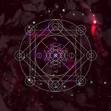 energy healing: Mystical geometry symbol on space background. Linear alchemy, occult, philosophical sign. For music album cover, poster, flyer. Astrology, imagination, creativity, religion concept. Illustration