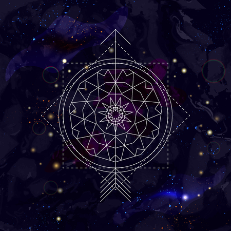 Mystical geometry symbol on space background. Linear alchemy, occult, philosophical sign. For music album cover, poster, flyer. Astrology, imagination, creativity, religion concept. Illustration