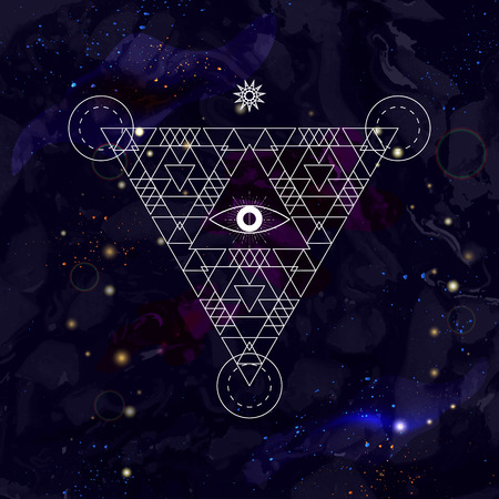spiritual energy: Mystical geometry symbol on space background. Linear alchemy, occult, philosophical sign. For music album cover, poster, flyer, logo design. Astrology, imagination, creativity, religion concept.