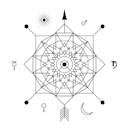 Abstract mystical geometry symbol. Vector linear alchemy, occult and philosophical sign. For the music album cover, poster, flyer, sacramental design. Astrology, imagination, creativity, superstition and religion concept.