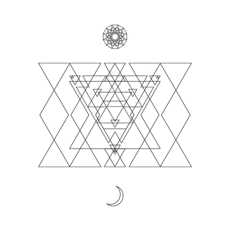 Abstract mystical geometry symbol. Vector linear alchemy, occult and philosophical sign. For the music album cover, poster, flyer, sacramental logo design. Astrology, imagination, creativity, superstition and religion concept.
