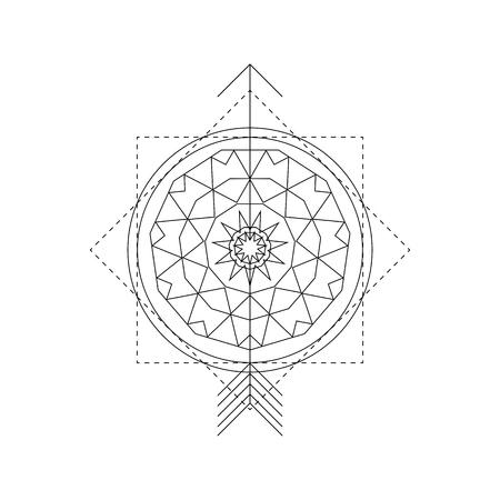 Mystical geometry symbol. Linear alchemy, occult, philosophical sign. For music album cover, poster, flyer, sacramental design. Astrology, imagination, creativity, superstition, religion concept. Vektoros illusztráció