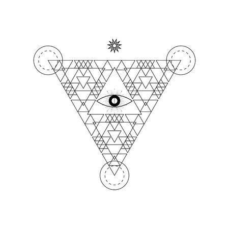 Mystical geometry symbol. Linear alchemy, occult, philosophical sign. For music album cover, poster, flyer, sacramental design. Astrology, imagination, creativity, superstition, religion concept. Illustration