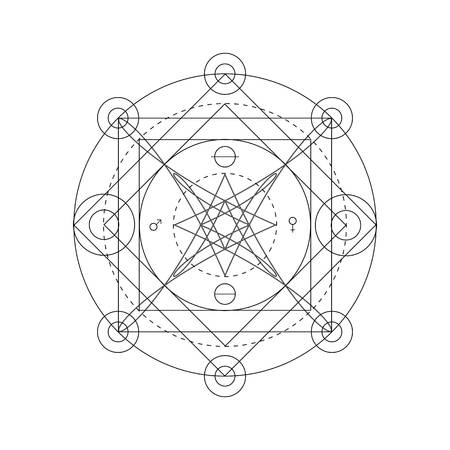 Mystical geometry symbol. Linear alchemy, occult, philosophical sign. For music album cover, poster, flyer, sacramental design. Astrology, imagination, creativity, superstition, religion concept. Ilustrace