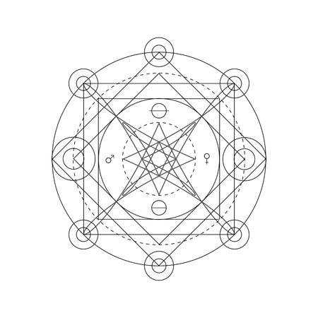 Mystical geometry symbol. Linear alchemy, occult, philosophical sign. For music album cover, poster, flyer, sacramental design. Astrology, imagination, creativity, superstition, religion concept. Illusztráció