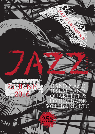 Vector jazz, rock ou blues modèle d'affiche de musique. Taches peintes à la main et jazz de mots. Contexte abstrait pour carte, dépliant, dépliant, brochure, bannière, web design. Vecteurs