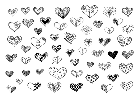 Hand drawn doodle hearts isilated on a white background.