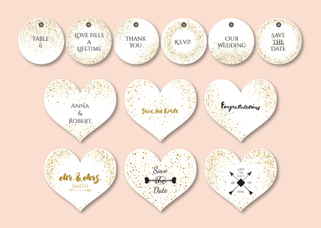 Wedding set  heart shape cards and tags with the abstract golden confetti backgrounds.