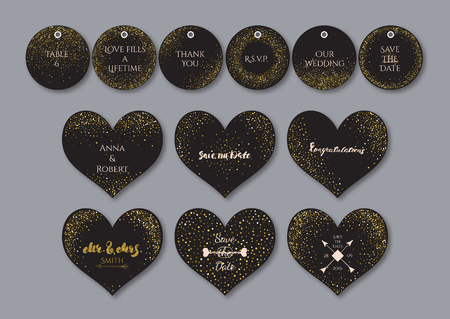 wedding reception decoration: Wedding set  heart shape cards and tags with the abstract golden confetti backgrounds.