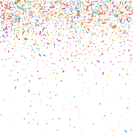 diferent: Abstract colorful confetti background. Isolated on the white. Vector holiday illustration.