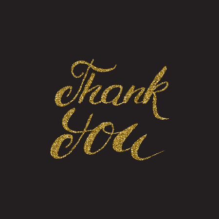 Thank you - hand painted  brush pen calligraphy, gold glitter texture. Isolated on the black  background.