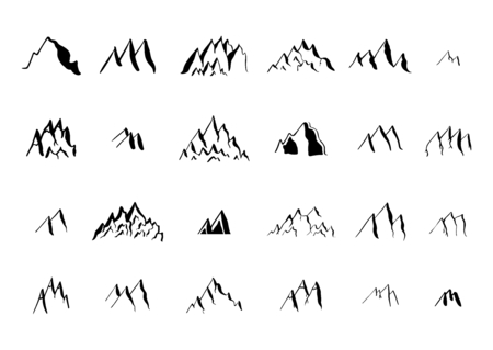 moutain climbing: Hand drawn ink mountain elements collection.  Isolated on the white background.