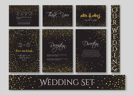 wedding reception decoration: Wedding set cards with the abstract golden confetti backgrounds.