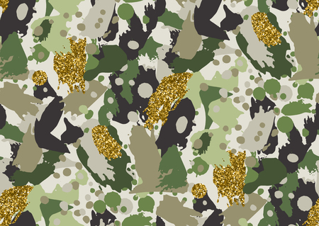 color conceal: Camouflage seamless pattern in a shades of green, brown and beige colors illustration.