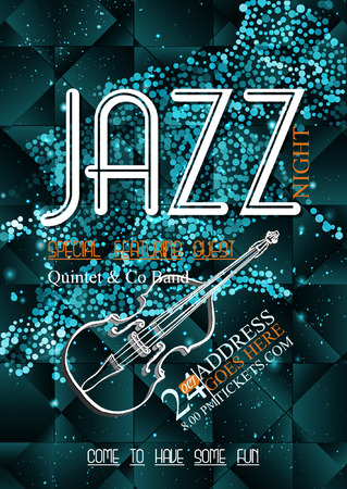 rockabilly: Jazz, rock or blues music poster template. Abstract glitter background for invitation, flyer, leaflet, brochure, banner, web design.