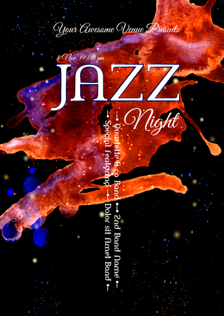 Jazz, rock or blues music poster template. Abstract watercolor background for card, flyer Illustration