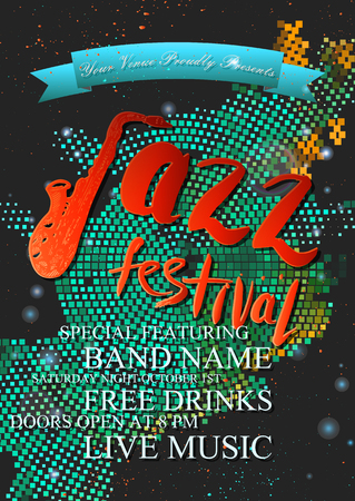 Vector jazz, rock or blues music poster template. Hand drawn ink stains, sax and words jazz festival. For card, flyer, leaflet, brochure, banner, web design. Illustration