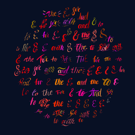 Set of hand painted colorful ampersands and catchwords. Modern ink calligraphy design elements. Illustration