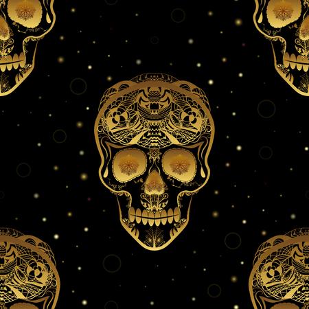 Gold ornamental sugar skull seamless pattern. Dia de los Muertos (Day of the Dead). Illustration