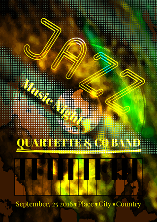 Vector jazz or blues music poster template. Abstract background for card, flyer, leaflet, brochure, banner, web design. Illustration