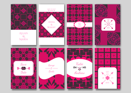 ideally: Set of the ornamental card templates. Ideally for the Save The Date, baby shower, mothers day, valentines day, birthday cards, invitations. Illustration