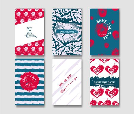 ideally: Set of the grunge card templates. Ideally for the Save The Date, baby shower, mothers day, valentines day, birthday cards, invitations, book cover. Hand painted stains, blots and lines with the deliciously rough edges. Vector illustration.