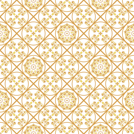 A gold seamlessl pattern for the card or invitation with Islam, Arabic, Indian or ottoman motifs. Vector illustration.