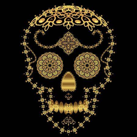 Gold ornamental sugar skull. Dia de los Muertas (Day of the Dead).